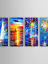 Handpainted Blue oil painting canvas Sailing Boat Port home office wall art decor with Stretched Frame
