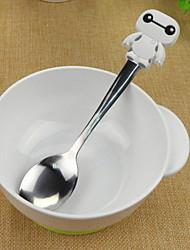 economico -manico cartone animato baymax silicone di disegno cucchiaio di acciaio inossidabile (bianco)