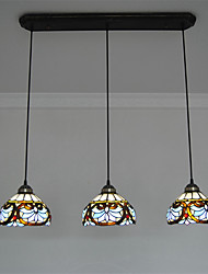 8inch 3-lights Retro Tiffany Pendant Lights Glass Shade Living Room Dining Room light Fixture