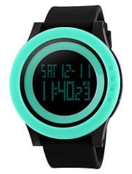 Недорогие -Муж. Спортивные часы Наручные часы электронные часы Цифровой Стеганная ПУ кожа Черный 30 m Защита от влаги Будильник Календарь Цифровой Лиловый Розовый Зеленый / Секундомер / LED