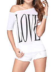 cheap -Women's Off The Shoulder Casual/Print Micro-elastic Short Sleeve Regular T-shirt (Cotton)