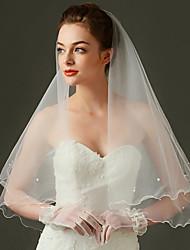 Uma Camada Borda Recortada Véus de Noiva Véu Cotovelo Com Pérolas Tule