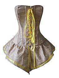 economico -Per donna Laccetti Sottobusto Completo Vestiti con corsetto Taglia forte Poliestere Nylon Jacquard Giallo