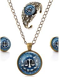 Schmuckset Simple Style Grabado Synthetische Edelsteine Blumenform Ohrringe Halskette Armband Für Hochzeitsgeschenke
