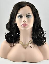 Žene Perike s ljudskom kosom Ljudska kosa Full Lace Lace Front 120% 130% 150% 180% Gustoća Valovita Perika Boja gagata Crna Tamnosmeđa