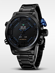 cheap -WEIDE® Men's Brand Luxury LED Double Time Black Stainless Steel Quartz Watch Cool Watch Unique Watch