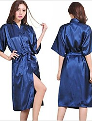 M Lady Silk Satin Pajama Lingerie Sleepwear Kimono Gown Nightdress Long Robe