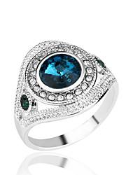 Maxi anel imitação de diamante Liga Moda Branco Vermelho Verde Azul Jóias Festa Diário Casual 1peça
