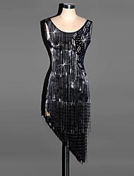 abordables -Devons-nous habiller des robes de danse latine, la tenue drapée en spandex féminine