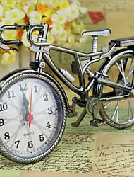 New Brown Analog Travel Desk Alarm Clock DIY Bicycle Bike Model Battery Operated