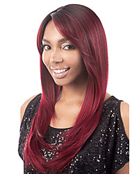 Daily Wear Personality Wig Wine Red Long Straight Hair High Temperature Synthetic Ladies Wig Europe and America Style