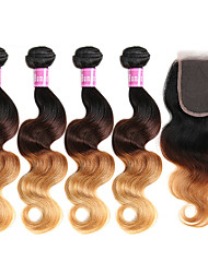 cheap -Brazilian Hair Body Wave Hair Weft with Closure 4 Bundles With Closure 8-30 inch Human Hair Weaves Ombre Hair Brown With Blonde Human Hair Extensions