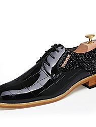 Homme Chaussures Cuir Verni Automne Hiver Chaussures formelles Oxfords Lacet Pour Décontracté Soirée & Evénement Noir Rouge