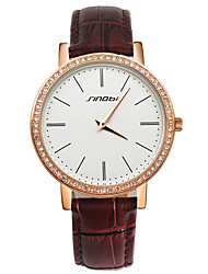 cheap -SINOBI® Fashion Diamond Watch Women Rose Gold Luxury Leather Clock Female Quartz Ladies Wristwatches Cool Watches Unique Watches
