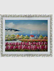 baratos -Pintura a Óleo Pintados à mão - Paisagem Floral / Botânico Estilo Europeu Tela de pintura