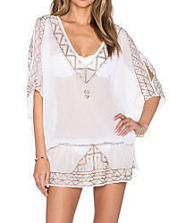 Women's Halter One-pieces / Cover-Ups,Solid One-Pieces Chiffon / Polyester White