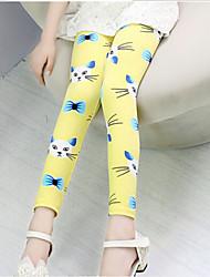 abordables -Pantalones Chica Algodón Todas las Temporadas Dibujos Amarillo Azul Rosa