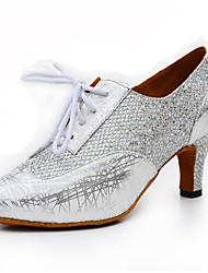 Women's Modern PU Glitter Heel Indoor Splicing Silver Black Gold Customizable