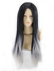 Недорогие -Парики из искусственных волос Прямой Ассиметричная стрижка Искусственные волосы Природные волосы Черный / Серый Парик Жен. Длинные Парики