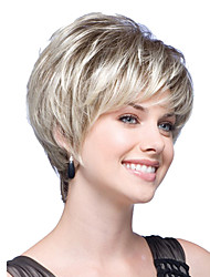 Short Bob Straight Wavy Light Beige Blonde Synthetic Hair Wigs Side Bang Heat Resistant