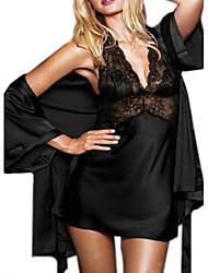 Body Vêtement de nuit Femme Couleur Pleine Soie Glacée Rouge Noir