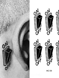 cheap -3D Switch Button Design Temporary Tattoo Sticker Waterproof Fake Tattoo Sticker Men Women Ears Personalized Stereoscopic