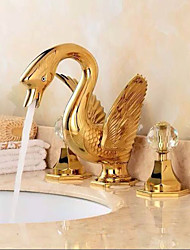 cheap -Separated Type Two Handles luxurious large Swan Shape Bathroom Basin Faucet - Gold