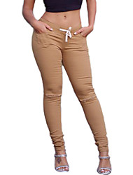 Women Solid Color Shredded Legging,Cotton Spandex Medium