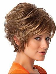 женщины короткие вьющиеся синтетический парик волос коричневой жаростойкое волокно дешевое косплей парик партия волосы
