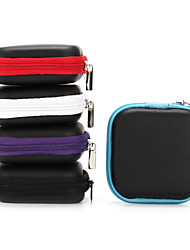 cheap -1Pc Mini Zipper Hard Headphone Case PU Leather Earphone Bag for Earphone Earbuds 6.5*6.5*2cm Black Purple Blue Red Gray