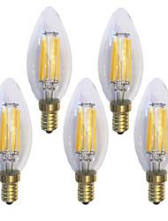 preiswerte -KWB 5 Stück 6W 600 lm E14 LED Glühlampen C35 6 Leds COB Wasserfest Dekorativ Warmes Weiß AC 220-240 V