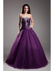 Ball Gown Strapless Floor Length Taffeta Tulle Formal Evening Dress with Beading by TS Couture®