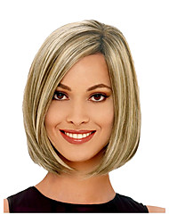 Straight Short Bob Beige Blonde Multi-color Side Bang Synthetic Hair Wig Heat Resistant