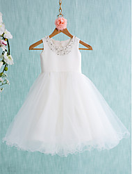 cheap -Ball Gown Knee Length Flower Girl Dress - Satin Tulle Sleeveless Jewel Neck with Beading Bow(s) by LAN TING BRIDE®