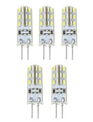 preiswerte -YWXLIGHT® 5 Stück 1.5W 140 lm G4 LED Mais-Birnen T 24*5 Leds SMD 3014 Natürliches Weiß DC 12V