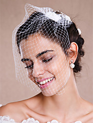 cheap -One-tier Raw Edge Wedding Veil Blusher Veils Veils for Short Hair Headpieces with Veil 53 Pearl Tulle