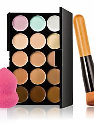 15 colori crema contorno trucco viso correttore palette + soffio spugna pennello polvere per fard correttore fondazione