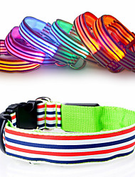 cheap -New fashion Nylon Stripe LED Luminous Pet Dog Collar size S-XL for Large and Small Dogs Puppy LED Flashing Collar Safety