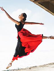 preiswerte -Latein-Tanz Austattungen Damen Leistung Elasthan Satin Kaskaden Rüschen Vorne geschlitzt Ärmellos Top Rock