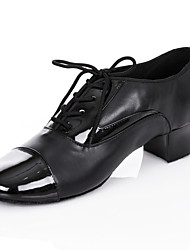 "cheap -Men's Latin Ballroom Leatherette Oxford Lace-up Chunky Heel Black 1"" - 1 3/4"" Customizable"