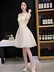 A-Line Illusion Neckline Knee Length Lace Tulle Cocktail Party Dress with Lace by QZ