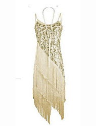 Women's Tassel Party Sexy Sheath Dress,Solid Strap Above Knee Sleeveless Blue / Beige / Black Polyester Summer