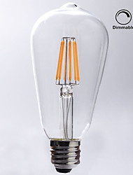 7W E26/E27 LED Filament Bulbs ST64 8 COB 720 lm Warm White 2700 K Waterproof Dimmable Decorative AC 110-130 V