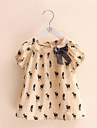 Tee-shirts Fille de Imprimé Décontracté / Quotidien Coton Eté Beige