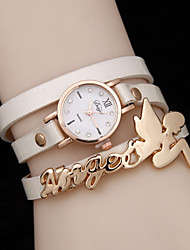 baratos -Mulheres Bracele Relógio Relógio Casual Couro Banda Amuleto / Fashion Preta / Branco / Azul