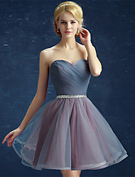 Ball Gown Fit & Flare Strapless Short / Mini Satin Tulle Cocktail Party Prom Dress with Side Draping Sequins by Yaying