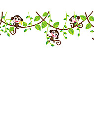 Green Leaves With Monkey TV Wall Decals Cartoon Hip Hop Monkey Living Room Wall Stickers PVC