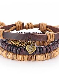Недорогие -Браслеты Wrap Браслеты / Кожаные браслеты Кожа Любовь Повседневные Бижутерия Подарок Верблюжий,1шт