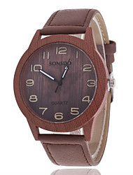cheap -Women/Men's Wooden Leather Band Analog Round Case  Wrist Watch Jewelry Fashion Watch