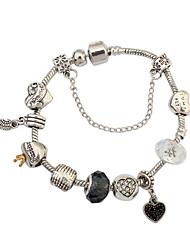 Dame Kæde & Lænkearmbånd Charm-armbånd Kærlighed Mode Europæisk Harpiks Rhinsten Legering Hjerteformet Sølv Smykker ForBryllup Fest